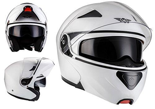 Casco modular F19 Matt White para Moto Scooter Ciudad