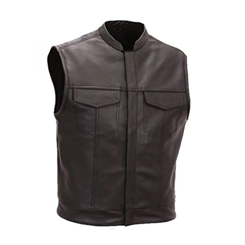 Bikers Gear Chaleco de cuero color Negro